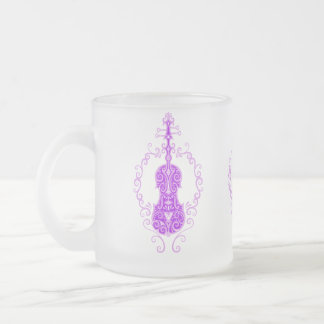 Intricate Purple Violin Design Coffee Mug