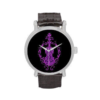 Intricate Purple Violin Design on Black Wrist Watches