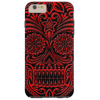 Intricate Red and Black Sugar Skull Tough iPhone 6 Plus Case