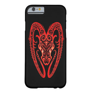Intricate Red Aries Zodiac on Black Barely There iPhone 6 Case