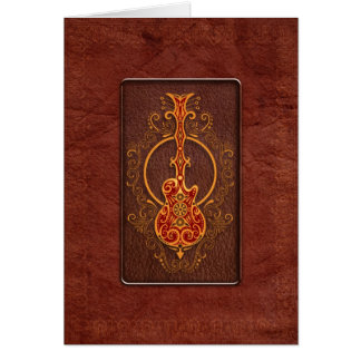 Intricate Red Leather Guitar Card