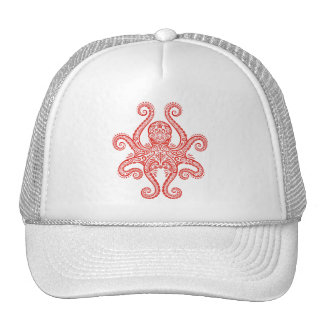 Intricate Red Octopus Trucker Hat