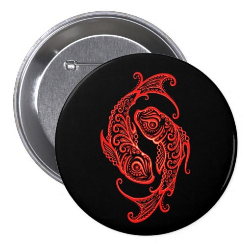 Intricate Red Pisces Zodiac on Black Pin
