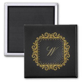 Intricate Square Monogram on Black Circular Magnet