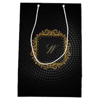Intricate Square Monogram on Black Circular Medium Gift Bag