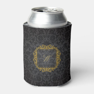 Intricate Square Monogram on Black Damask Can Cooler