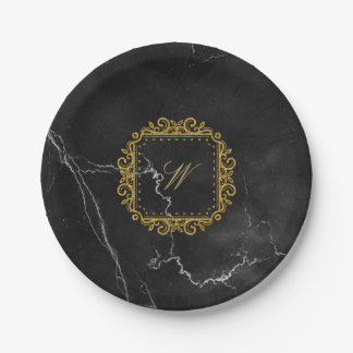 Intricate Square Monogram on Black Marble Paper Plate
