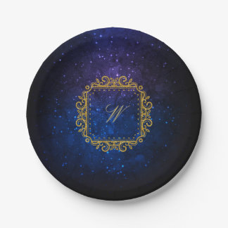 Intricate Square Monogram on Blue Galaxy Paper Plate