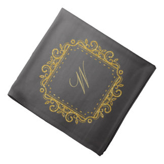 Intricate Square Monogram on Chalkboard Bandana