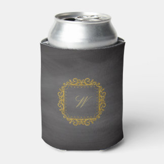 Intricate Square Monogram on Chalkboard Can Cooler