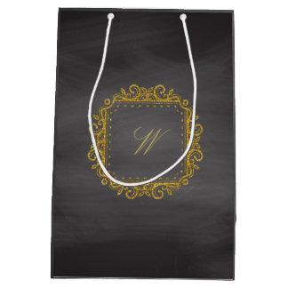Intricate Square Monogram on Chalkboard Medium Gift Bag