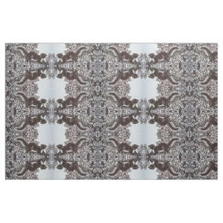 Intricate Squirrel Design Tiled Fabric Brown White