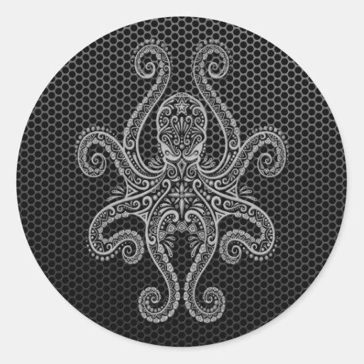Intricate Steel Mesh Octopus Round Sticker