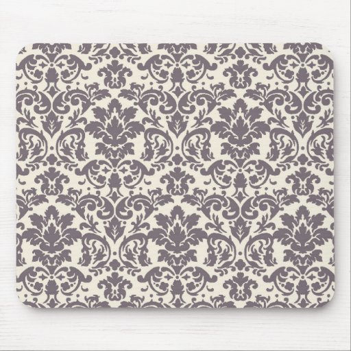 intricate taupe grey cream damask pattern mouse pads