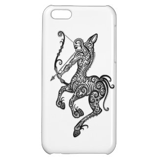 Intricate White Sagittarius Zodiac on Black Case For iPhone 5C