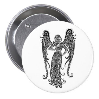 Intricate White Virgo Zodiac on Black Buttons
