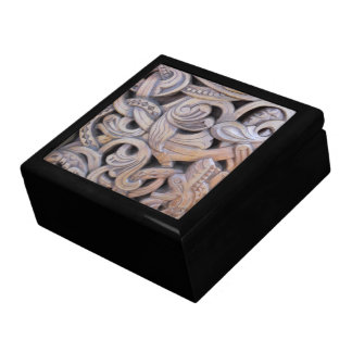 Intricate Wood Carving Swirl Knot Design Large Square Gift Box