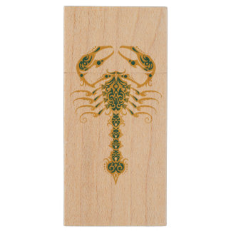 Intricate Yellow and Blue Tribal Scorpion Wood USB 2.0 Flash Drive