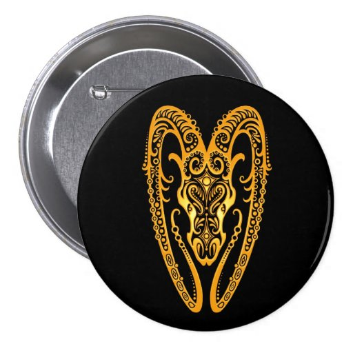 Intricate Yellow Aries Zodiac on Black Button