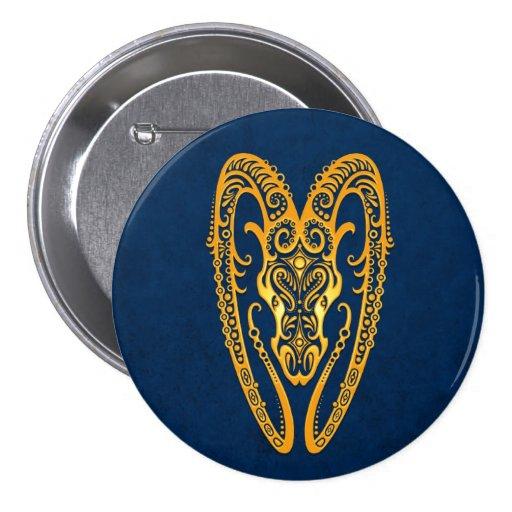Intricate Yellow Aries Zodiac on Blue Button