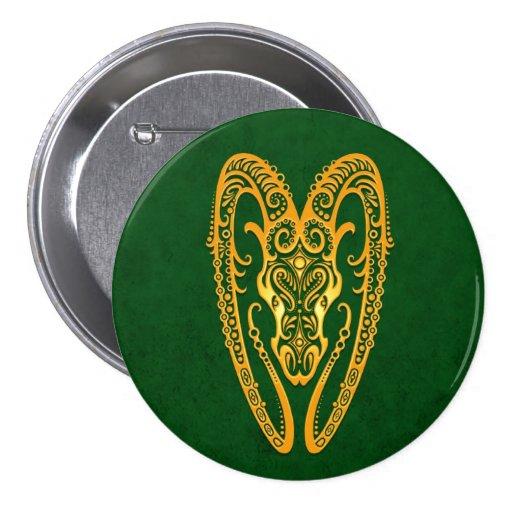 Intricate Yellow Aries Zodiac on Green Pins