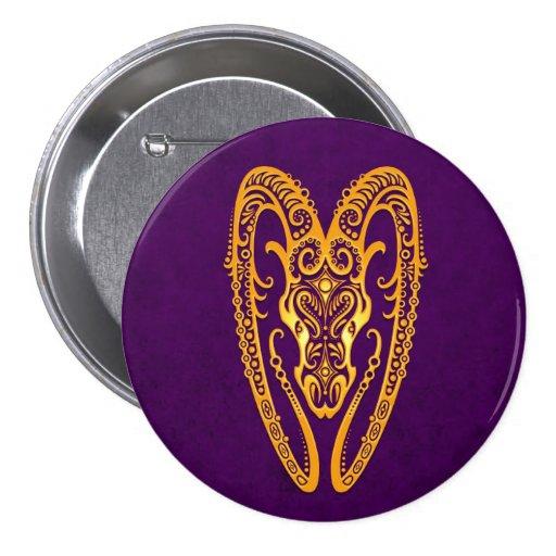 Intricate Yellow Aries Zodiac on Purple Pinback Button