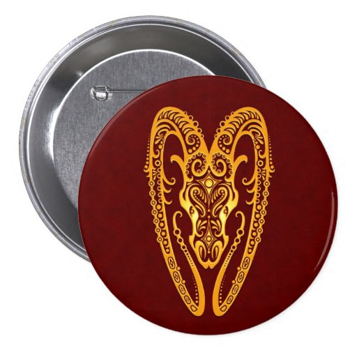 Intricate Yellow Aries Zodiac on Red Button