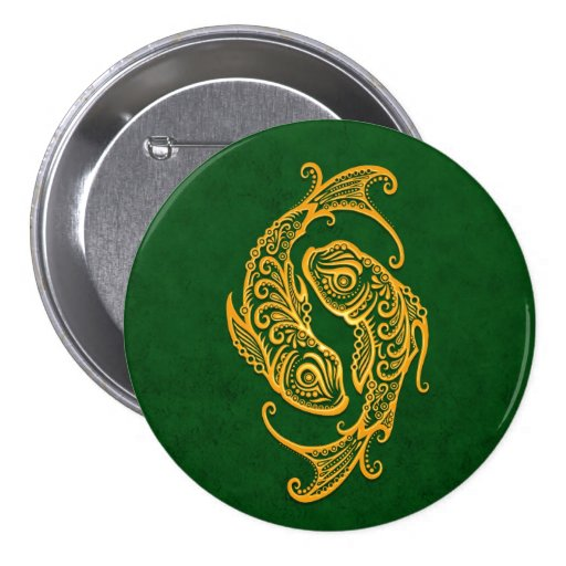 Intricate Yellow Pisces Zodiac on Green Pinback Buttons