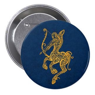 Intricate Yellow Sagittarius Zodiac on Blue Pinback Buttons