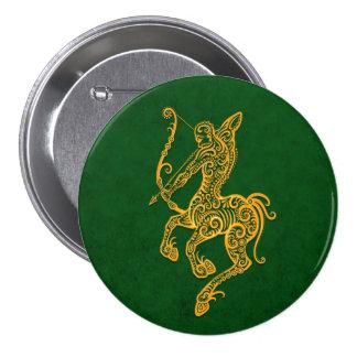 Intricate Yellow Sagittarius Zodiac on Green Pin