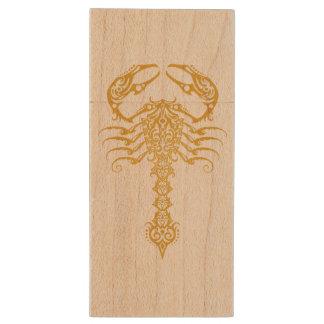 Intricate Yellow Tribal Scorpion Wood USB 2.0 Flash Drive