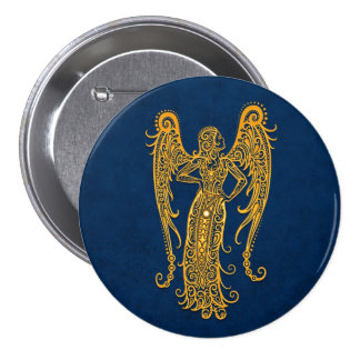 Intricate Yellow Virgo Zodiac on Blue Pinback Buttons