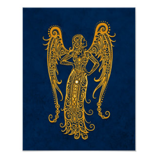 Intricate Yellow Virgo Zodiac on Blue Poster