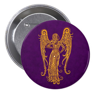 Intricate Yellow Virgo Zodiac on Purple Pin