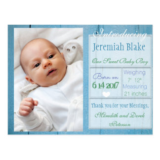 Introducing New Baby Boy Announcement Postcard