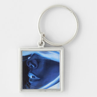 Introvert Silver-Colored Square Key Ring