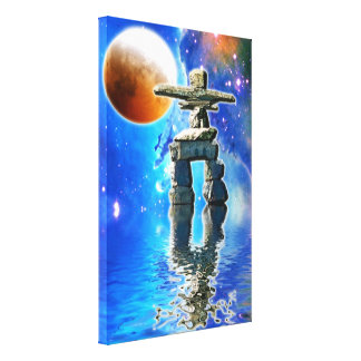 Inuit Eskimo Inukshuk & Moon Fantasy Art Canvas Print