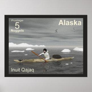Inuit Kayak - Alaska Postage Poster
