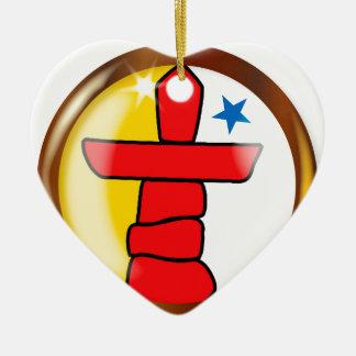Inuit Proud Flag Button Ceramic Ornament