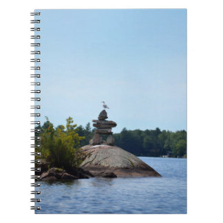 Inukshuk, seagull,  cottage country notebook