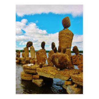 Inukshuk stone river sculptures postcard