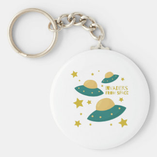 Invaders from Space Basic Round Button Key Ring
