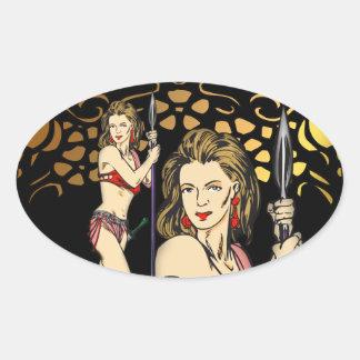 Invasion Of Amazon Women Oval Sticker