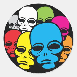 Invasion of Rainbow Aliens Round Sticker