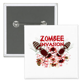Invasion Of The Zombees Button