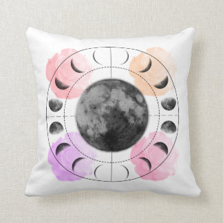 Inverse Moon Phases and Roses Cushion
