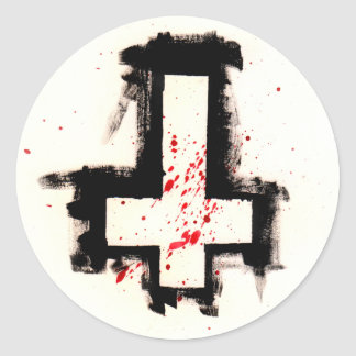 Inverted Bloody Cross Stickers, Sheet of Six. Classic Round Sticker