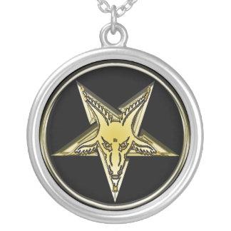 Inverted Golden Goat Head Pentagram Silver Plated Necklace