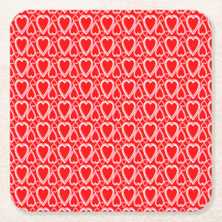 Inverted Hearts Pattern Square Paper Coaster