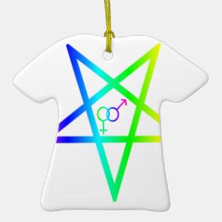 Inverted Rainbow heterosexual Pentagram Ceramic T-Shirt Decoration